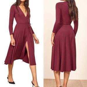 Reformation Maurie Wrap Dress Aubergine